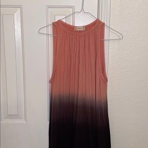 CLEARANCE: Coral/brown dress w/lace trimming @bott